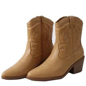 Shoes - Blond Faux Leather Cowboy Pull On Mid Calf Boot